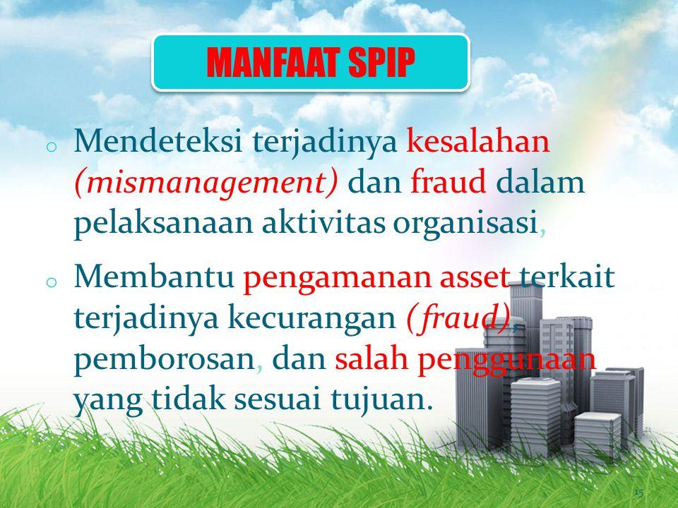 MANFAAT SPIP Mendeteksi terjadinya kesalahan (mismanagement) dan fraud dalam pelaksanaan aktivitas organisasi,