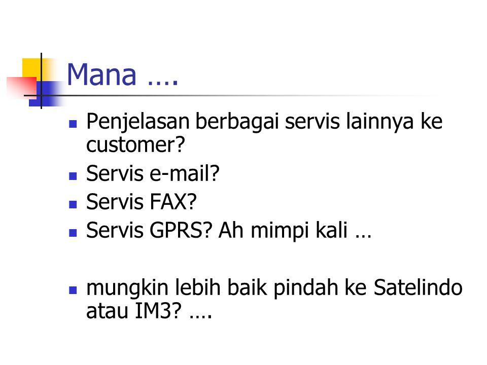 Mana …. Penjelasan berbagai servis lainnya ke customer Servis e-mail