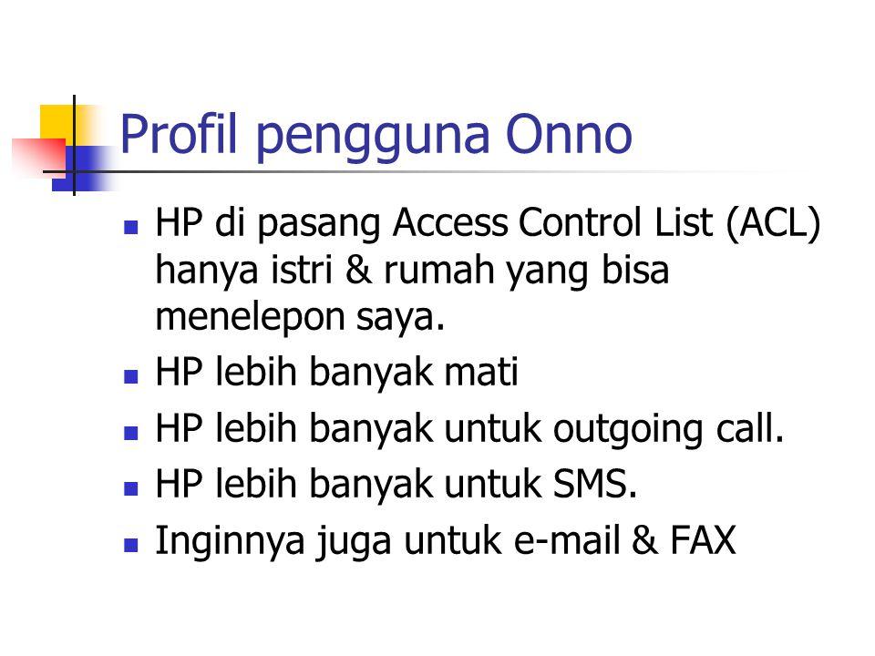 Profil pengguna Onno HP di pasang Access Control List (ACL) hanya istri & rumah yang bisa menelepon saya.