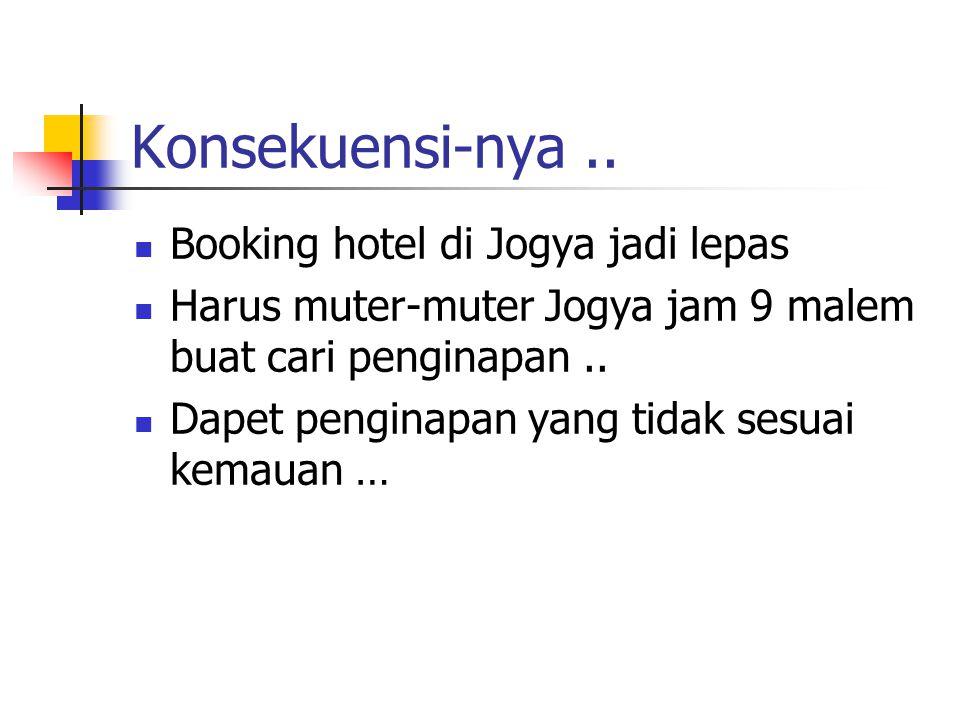 Konsekuensi-nya .. Booking hotel di Jogya jadi lepas