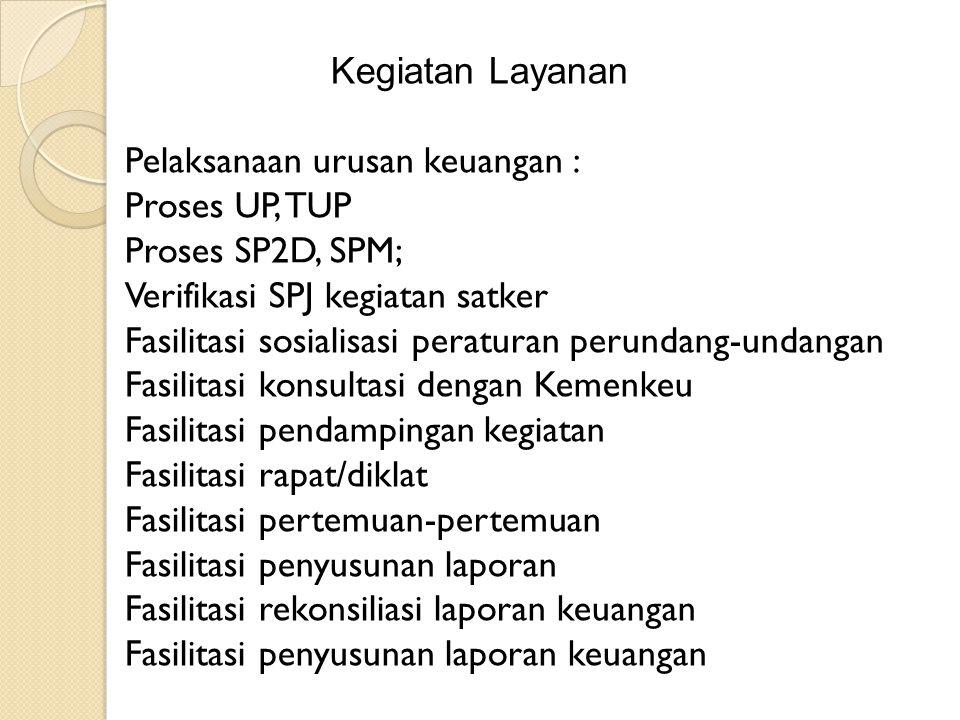 Kegiatan Layanan Pelaksanaan urusan keuangan : Proses UP, TUP. Proses SP2D, SPM; Verifikasi SPJ kegiatan satker.