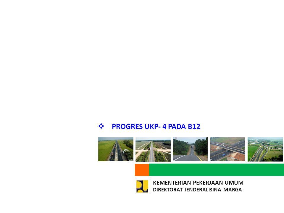 CAPAIAN UKP4 STATUS B12 NO. UKURAN KEBERHASILAN. CAPAIAN. (%) 1. Tertingkatkannya kapasitas jalan (pelebaran) sepanjang 1.521 km.