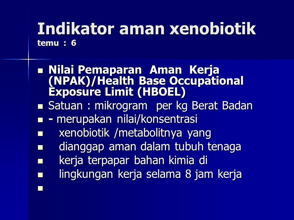 Indikator aman xenobiotik temu : 6