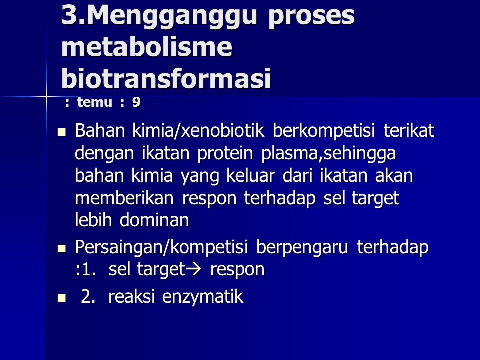 3.Mengganggu proses metabolisme biotransformasi : temu : 9