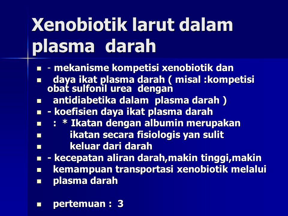 Xenobiotik larut dalam plasma darah