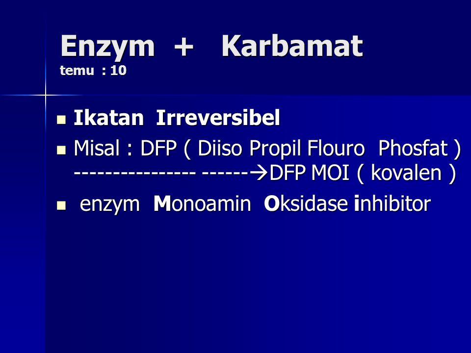 Enzym + Karbamat temu : 10 Ikatan Irreversibel