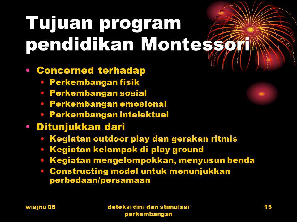 Tujuan program pendidikan Montessori