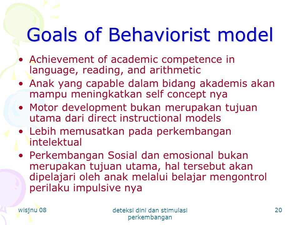 Goals of Behaviorist model