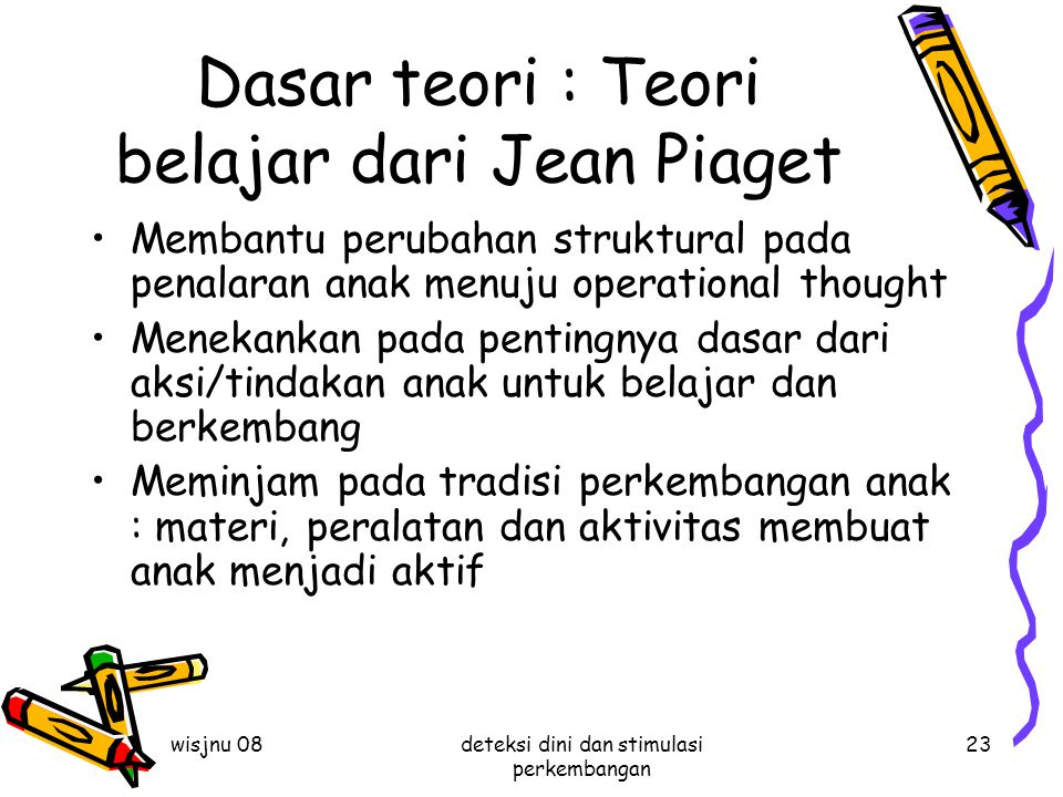 Dasar teori : Teori belajar dari Jean Piaget