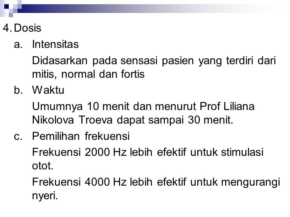 4. Dosis a. Intensitas. Didasarkan pada sensasi pasien yang terdiri dari mitis, normal dan fortis.