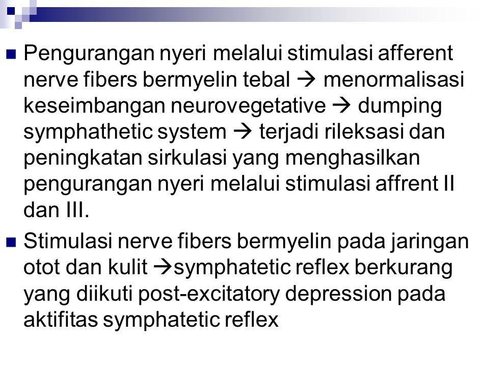Pengurangan nyeri melalui stimulasi afferent nerve fibers bermyelin tebal  menormalisasi keseimbangan neurovegetative  dumping symphathetic system  terjadi rileksasi dan peningkatan sirkulasi yang menghasilkan pengurangan nyeri melalui stimulasi affrent II dan III.