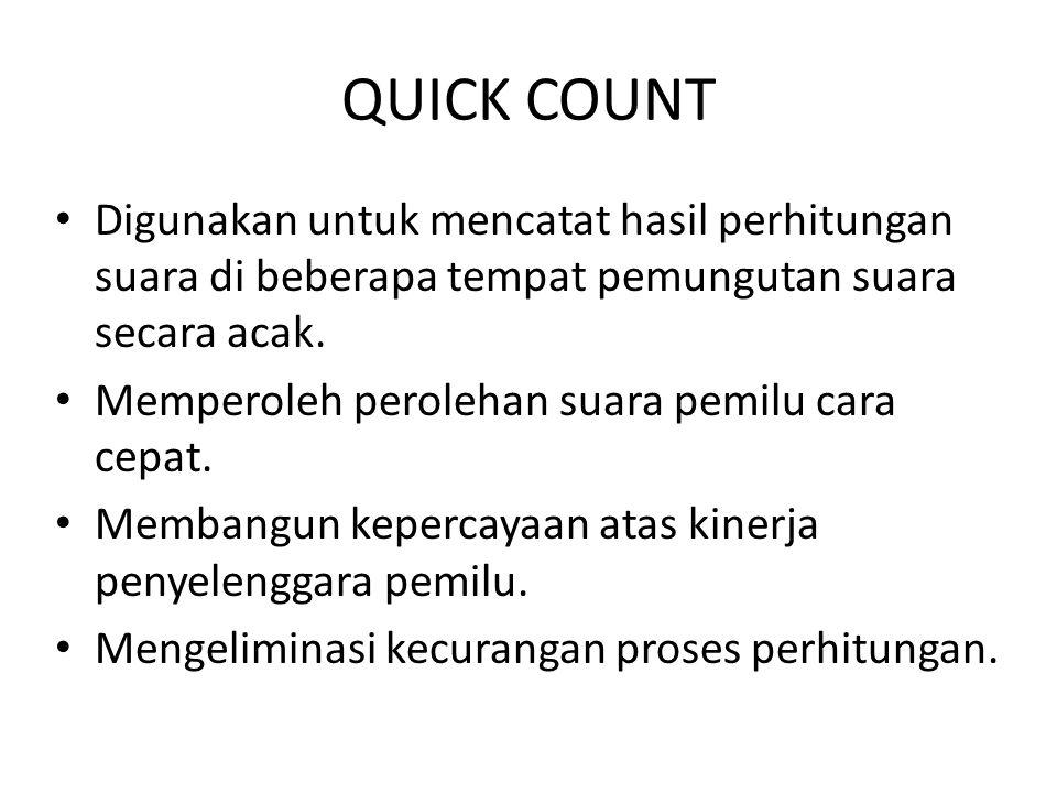 QUICK COUNT Digunakan untuk mencatat hasil perhitungan suara di beberapa tempat pemungutan suara secara acak.
