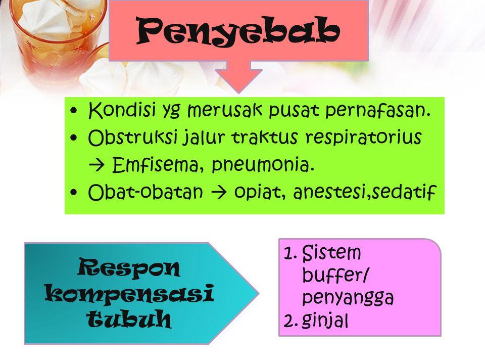 Penyebab Respon kompensasi tubuh Kondisi yg merusak pusat pernafasan.