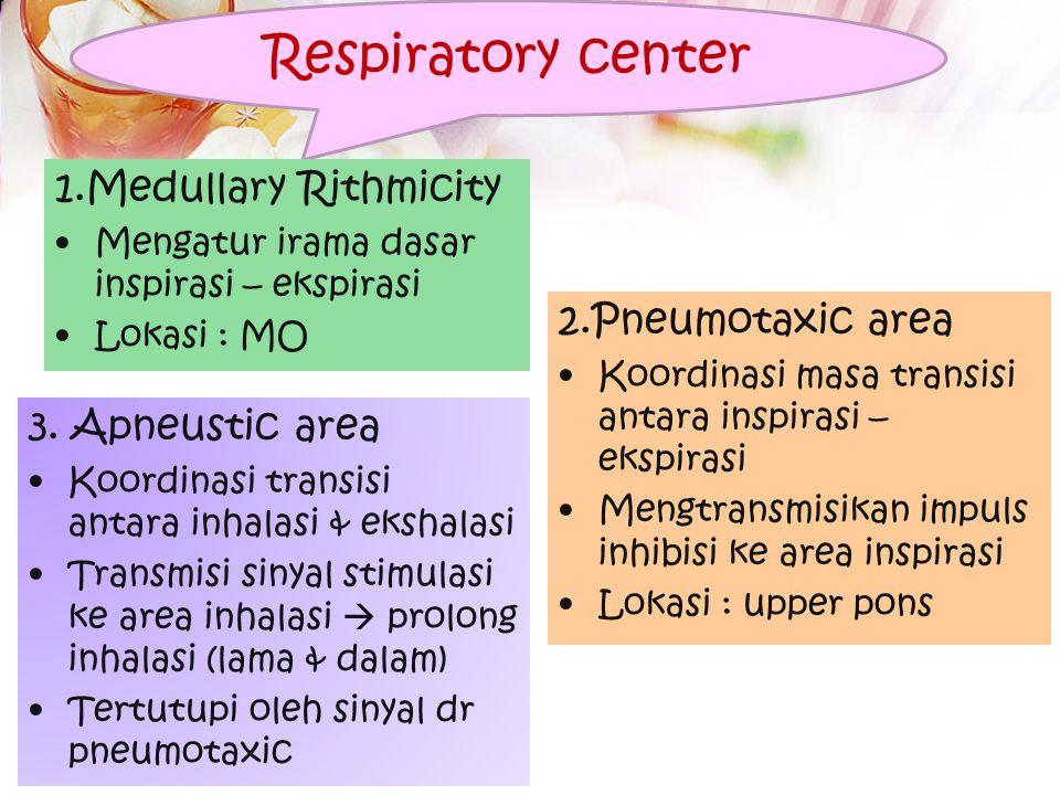 Respiratory center 1.Medullary Rithmicity 2.Pneumotaxic area