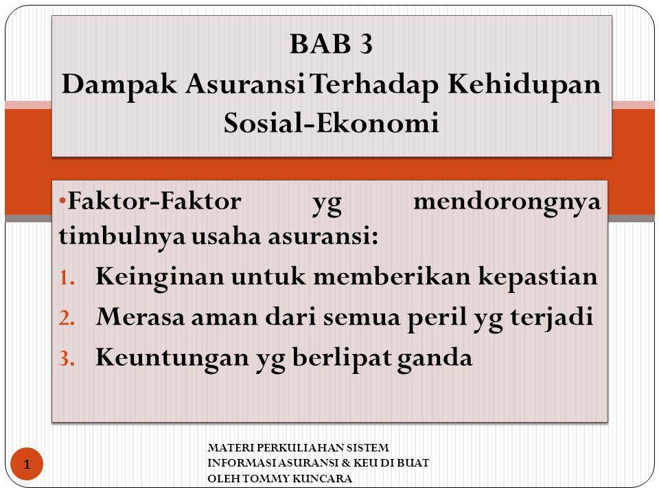 BAB 3 Dampak Asuransi Terhadap Kehidupan Sosial-Ekonomi