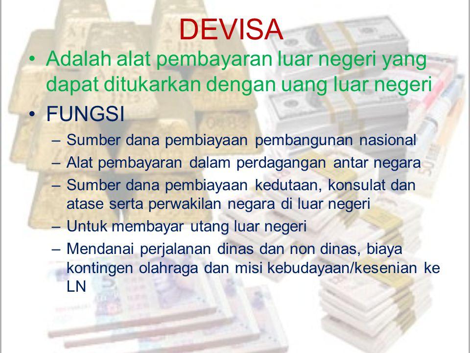 DEVISA Adalah alat pembayaran luar negeri yang dapat ditukarkan dengan uang luar negeri. FUNGSI. Sumber dana pembiayaan pembangunan nasional.