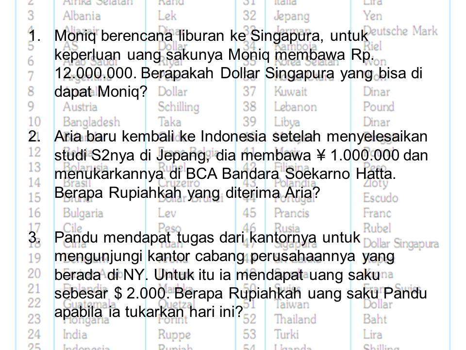 Moniq berencana liburan ke Singapura, untuk keperluan uang sakunya Moniq membawa Rp. 12.000.000. Berapakah Dollar Singapura yang bisa di dapat Moniq