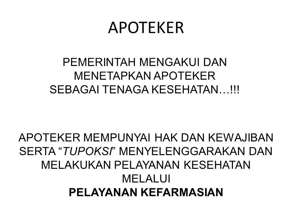APOTEKER PEMERINTAH MENGAKUI DAN MENETAPKAN APOTEKER SEBAGAI TENAGA KESEHATAN…!!!