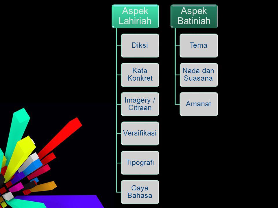 Aspek Lahiriah Diksi. Kata Konkret. Imagery / Citraan. Versifikasi. Tipografi. Gaya Bahasa. Aspek Batiniah.