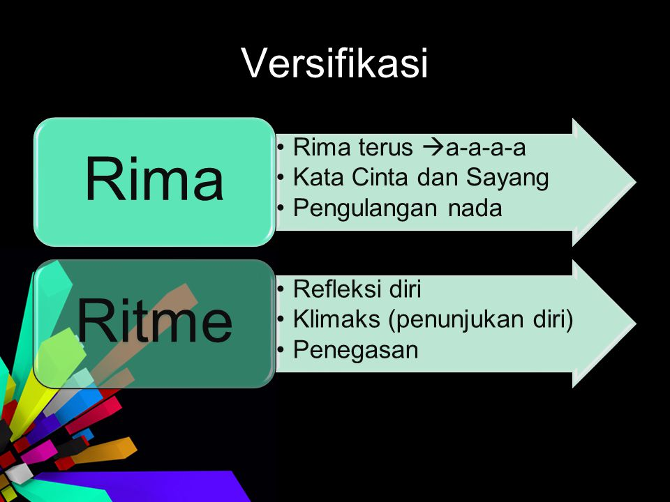 Versifikasi Rima Rima terus a-a-a-a Kata Cinta dan Sayang