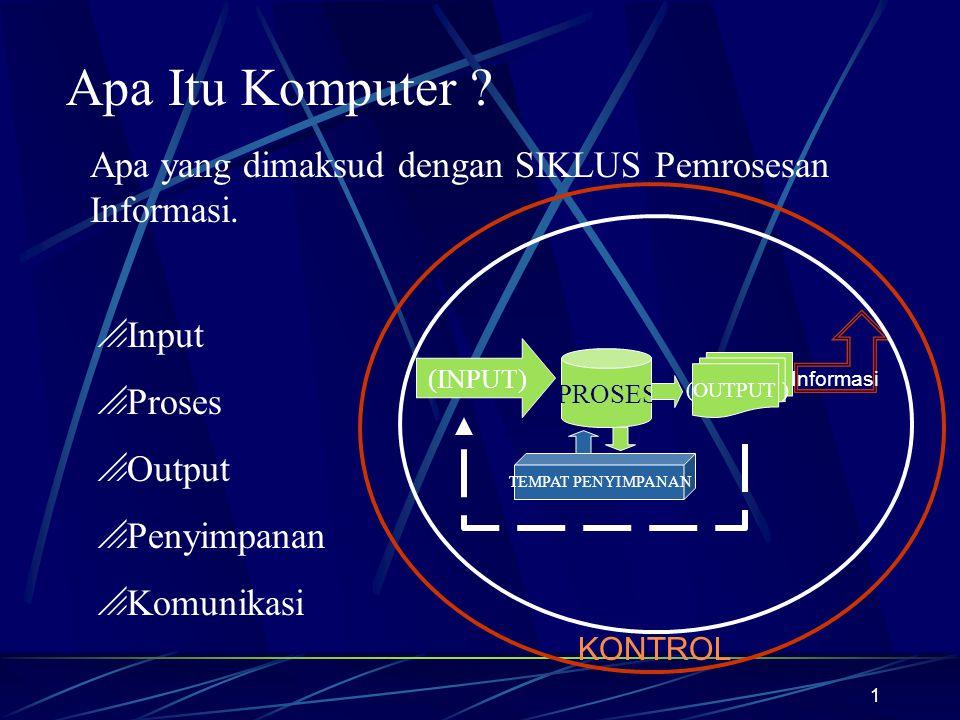 Apa Itu Komputer Apa yang dimaksud dengan SIKLUS Pemrosesan Informasi. Input. Proses. Output. Penyimpanan.