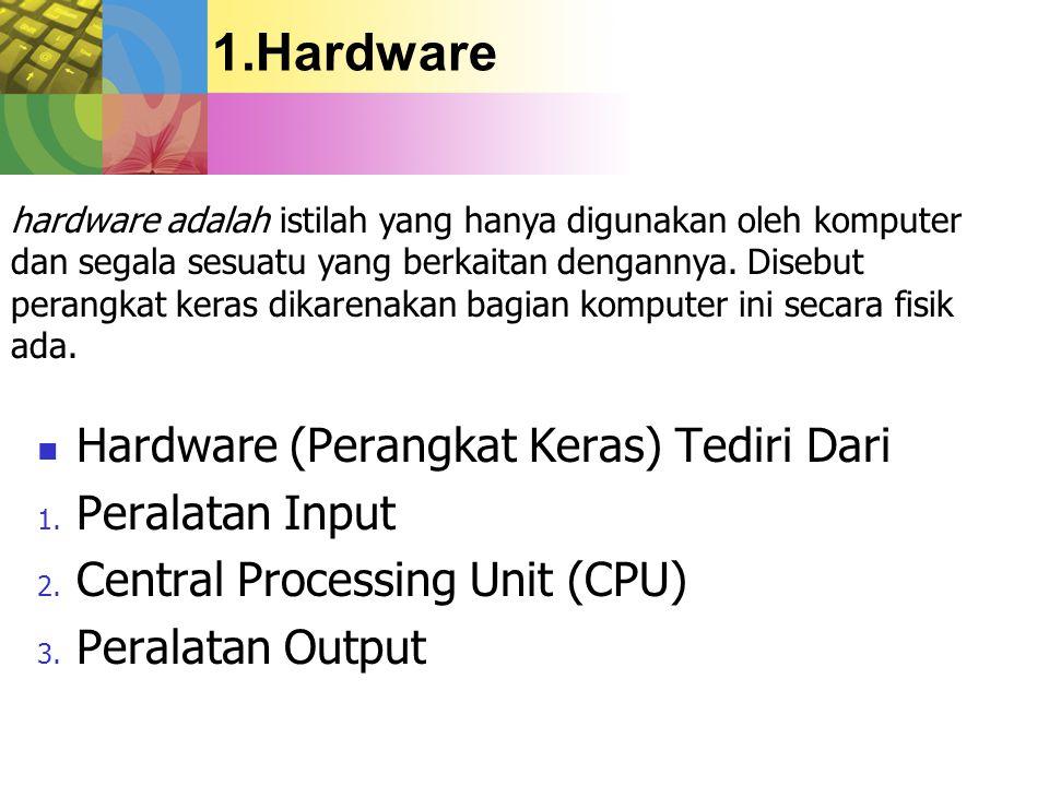 Hardware Hardware (Perangkat Keras) Tediri Dari Peralatan Input
