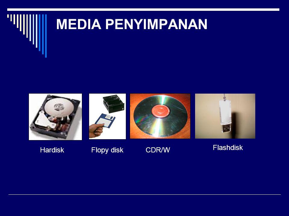 MEDIA PENYIMPANAN Flashdisk Hardisk Flopy disk CDR/W