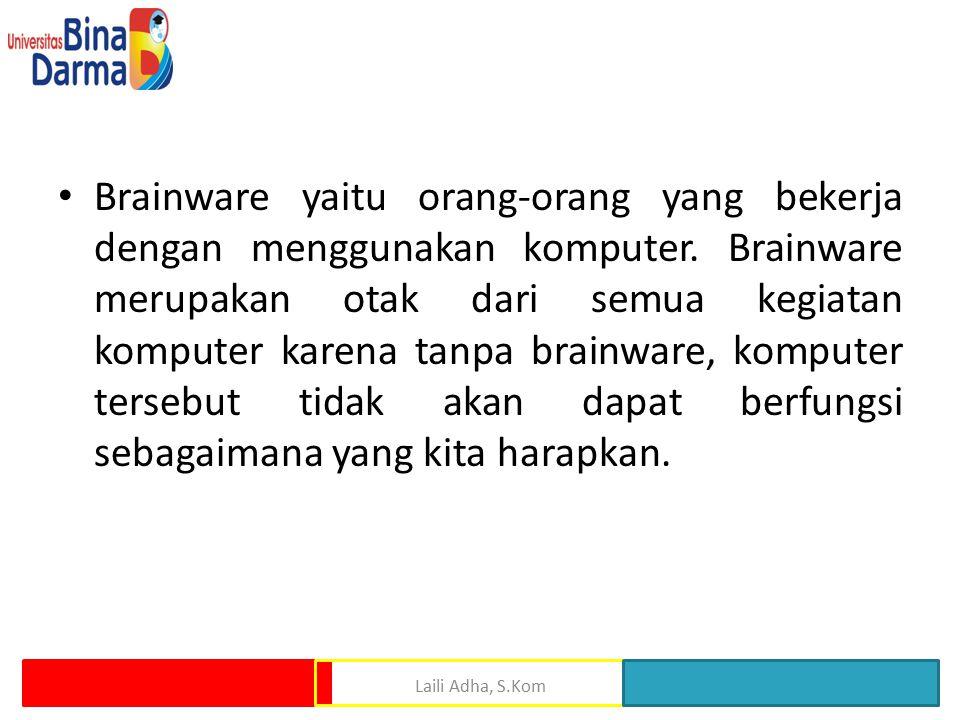 Brainware yaitu orang-orang yang bekerja dengan menggunakan komputer