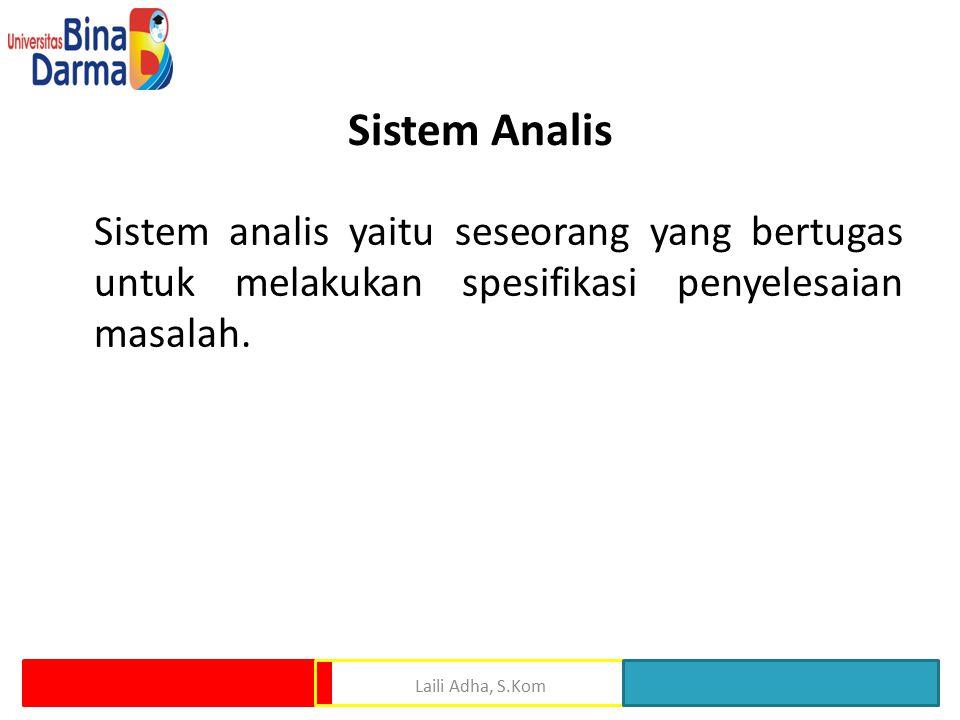 Sistem Analis Sistem analis yaitu seseorang yang bertugas untuk melakukan spesifikasi penyelesaian masalah.