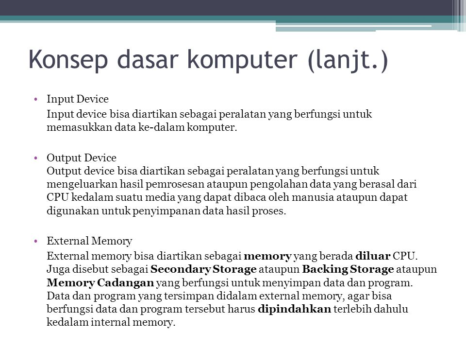 Konsep dasar komputer (lanjt.)