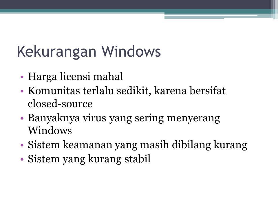 Kekurangan Windows Harga licensi mahal