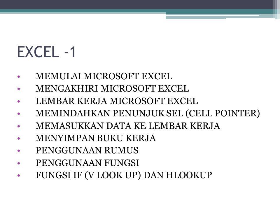 EXCEL -1 MEMULAI MICROSOFT EXCEL MENGAKHIRI MICROSOFT EXCEL