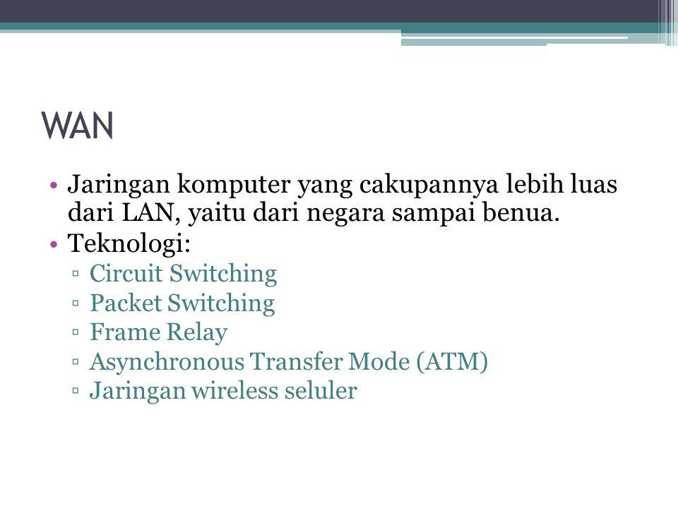 WAN Jaringan komputer yang cakupannya lebih luas dari LAN, yaitu dari negara sampai benua. Teknologi: