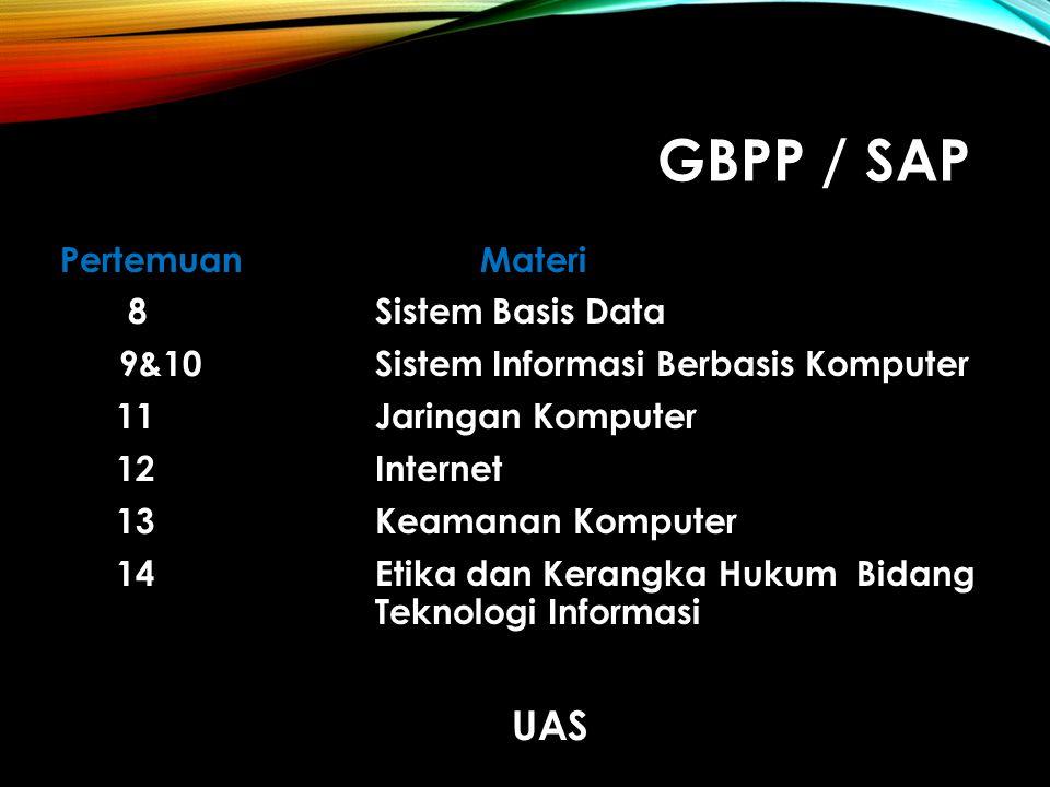 GBPP / SAP UAS Pertemuan Materi 8 Sistem Basis Data
