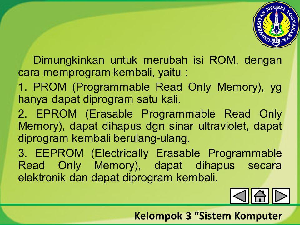 Dimungkinkan untuk merubah isi ROM, dengan cara memprogram kembali, yaitu : 1.