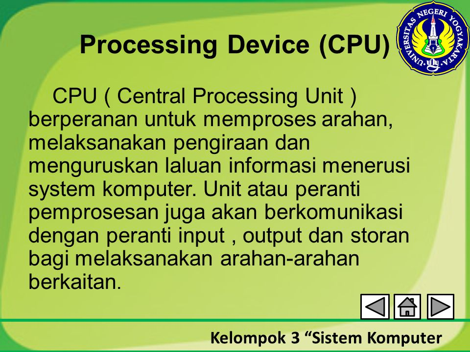 Processing Device (CPU)