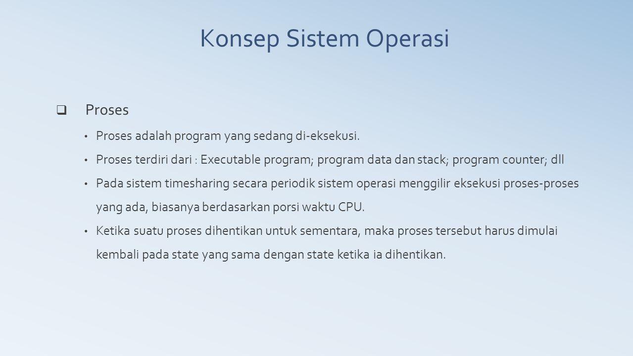 Konsep Sistem Operasi Proses