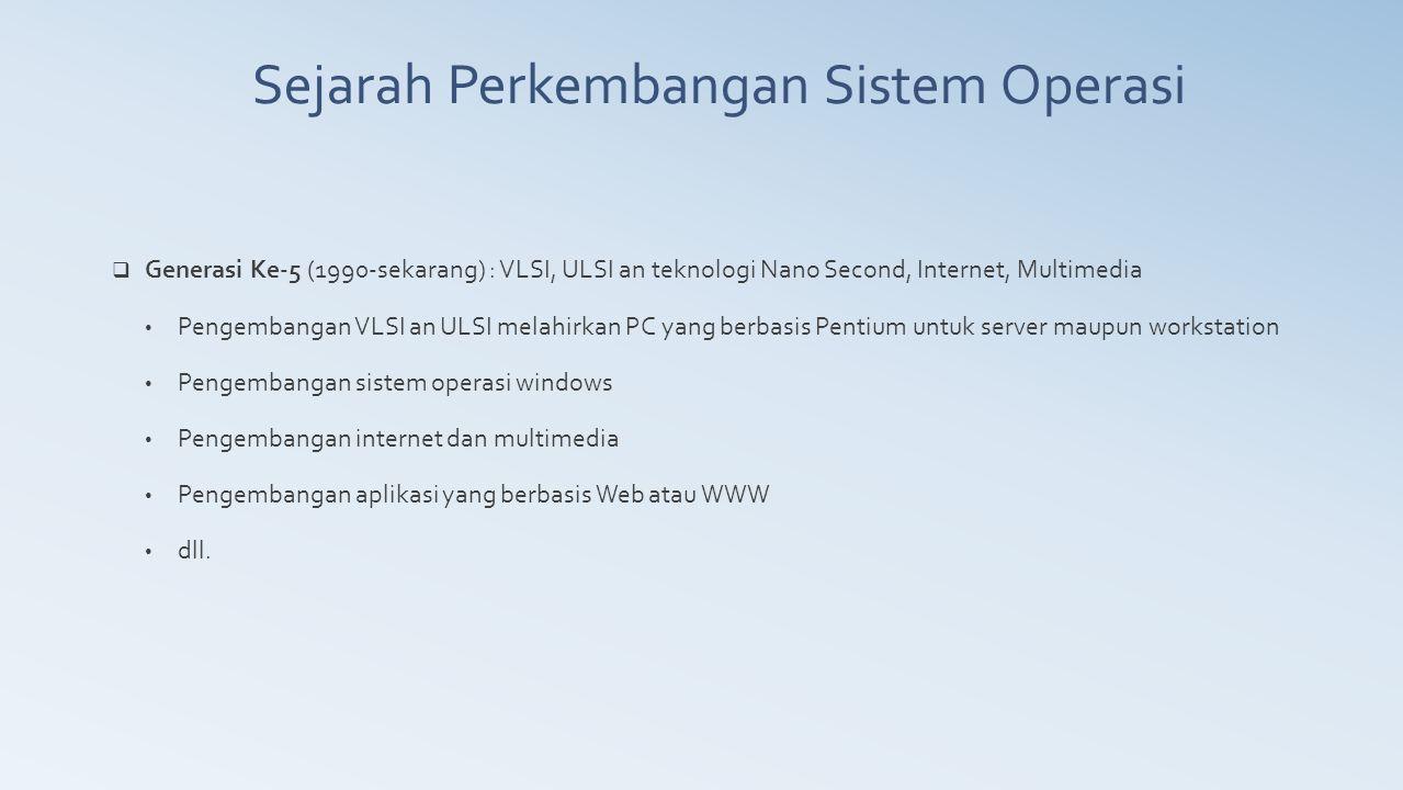 Sejarah Perkembangan Sistem Operasi