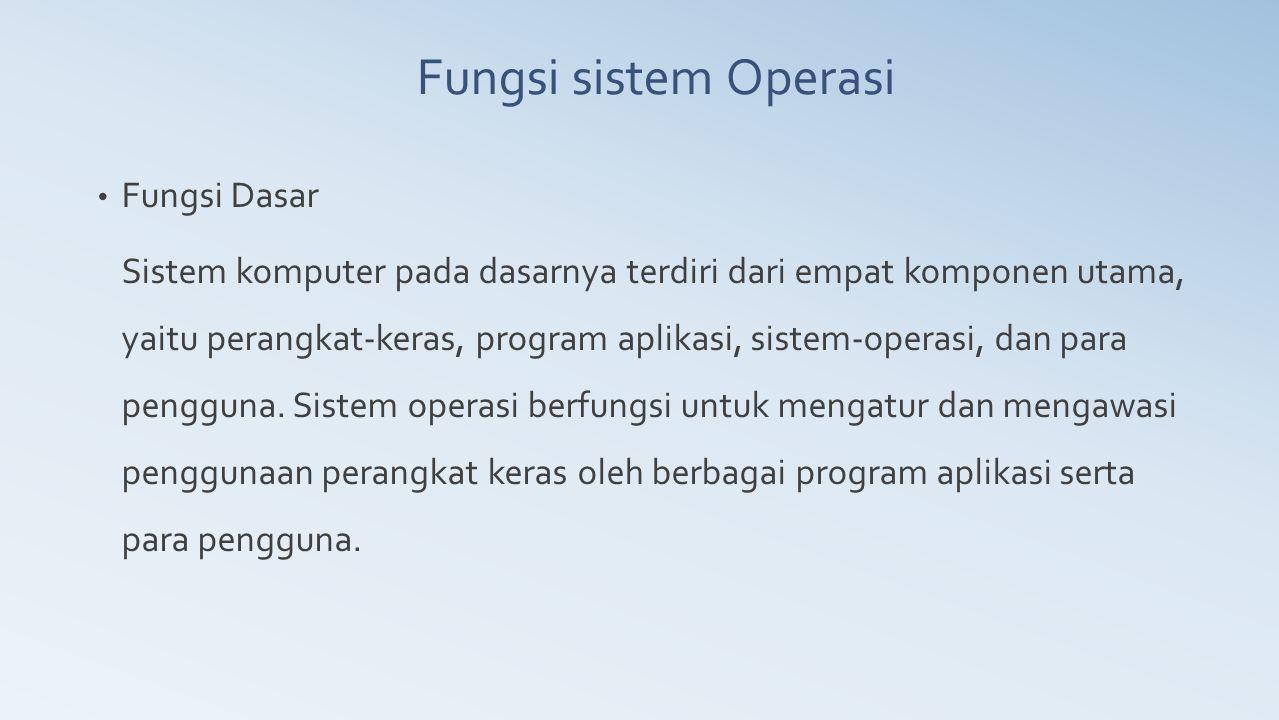 Fungsi sistem Operasi Fungsi Dasar