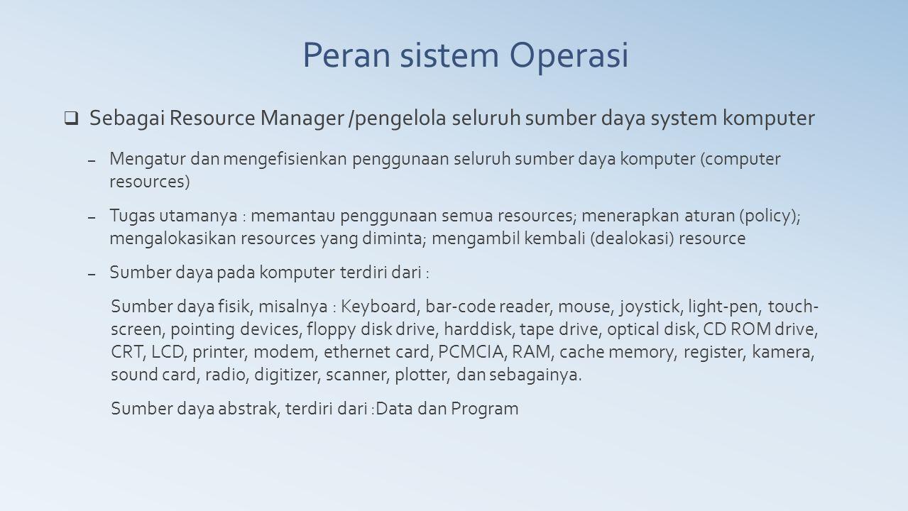 Peran sistem Operasi Sebagai Resource Manager /pengelola seluruh sumber daya system komputer.
