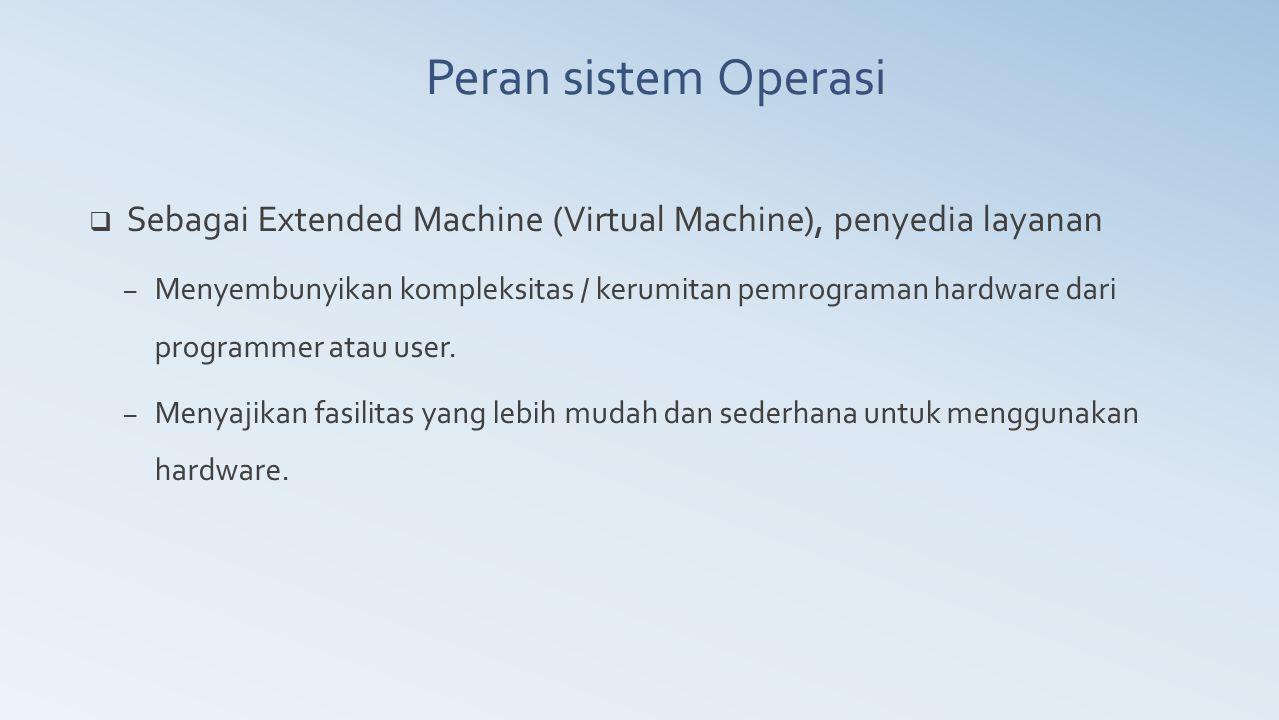 Peran sistem Operasi Sebagai Extended Machine (Virtual Machine), penyedia layanan.