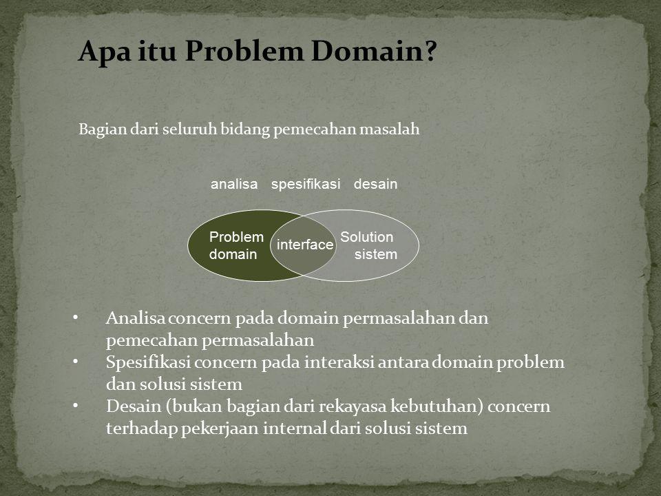 Apa itu Problem Domain Bagian dari seluruh bidang pemecahan masalah. analisa. spesifikasi. desain.
