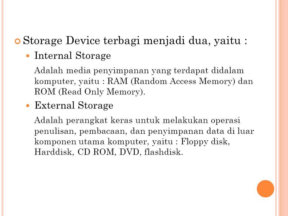 Storage Device terbagi menjadi dua, yaitu :