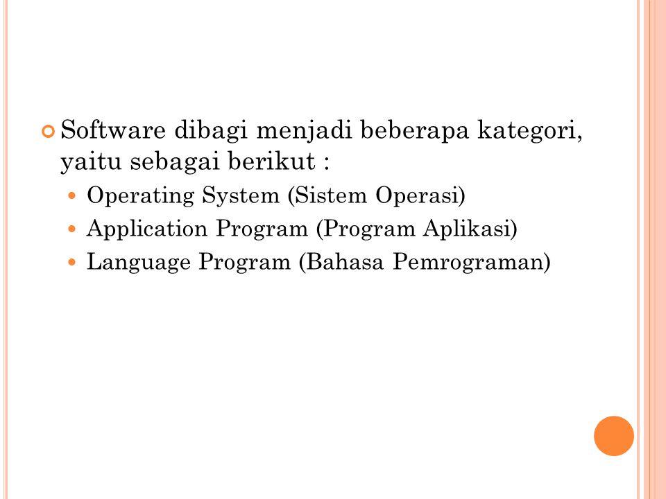 Software dibagi menjadi beberapa kategori, yaitu sebagai berikut :