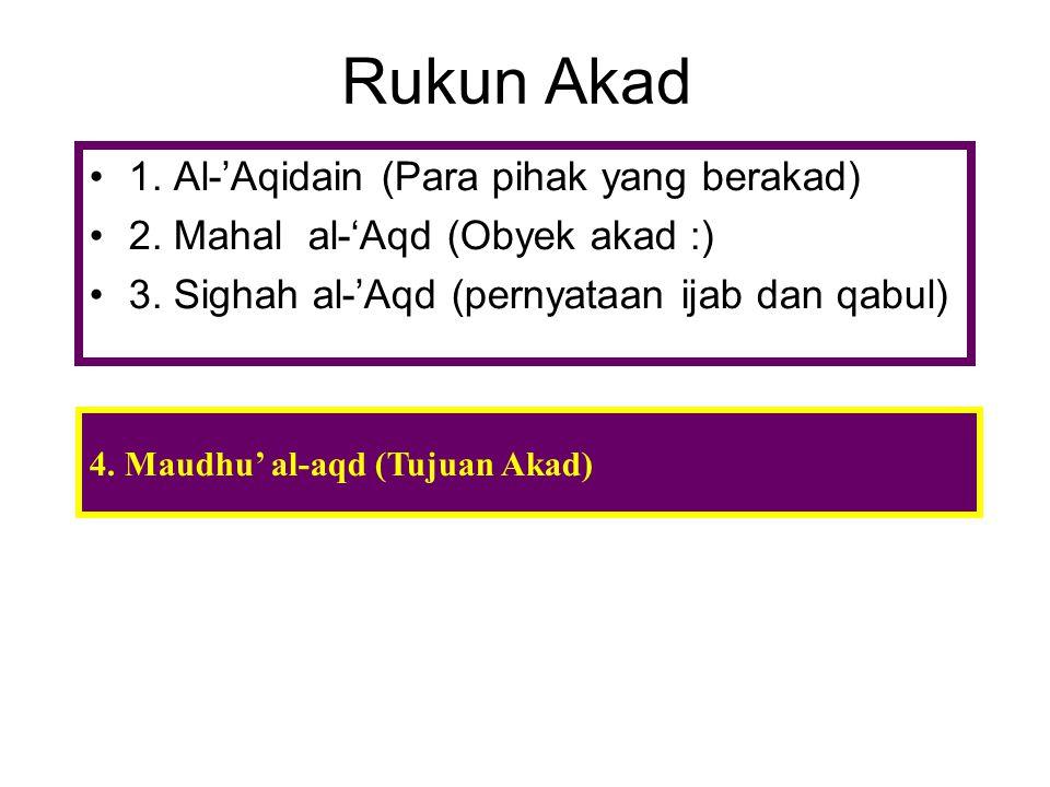 Rukun Akad 1. Al-'Aqidain (Para pihak yang berakad)