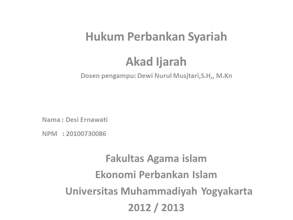 Hukum Perbankan Syariah Akad Ijarah