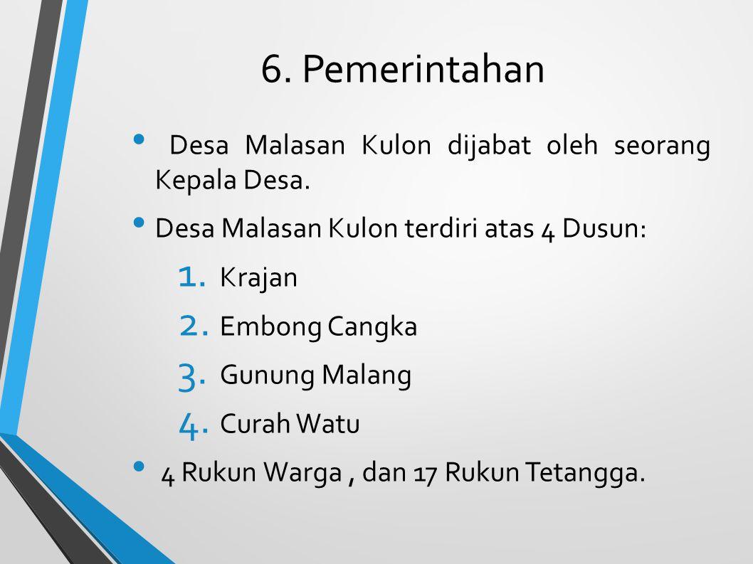 6. Pemerintahan Desa Malasan Kulon dijabat oleh seorang Kepala Desa.