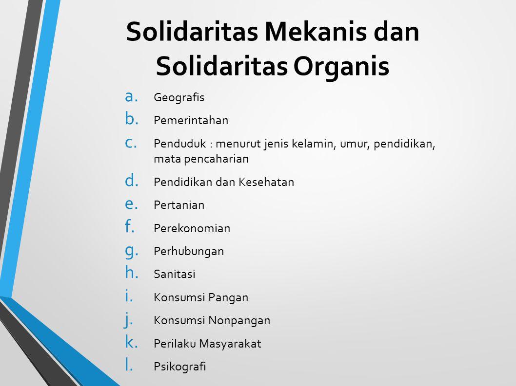 Solidaritas Mekanis dan Solidaritas Organis