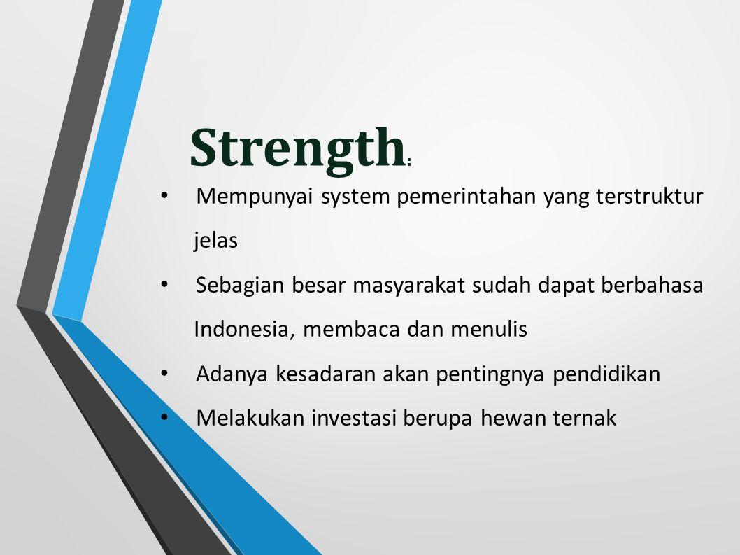 Strength: Mempunyai system pemerintahan yang terstruktur jelas