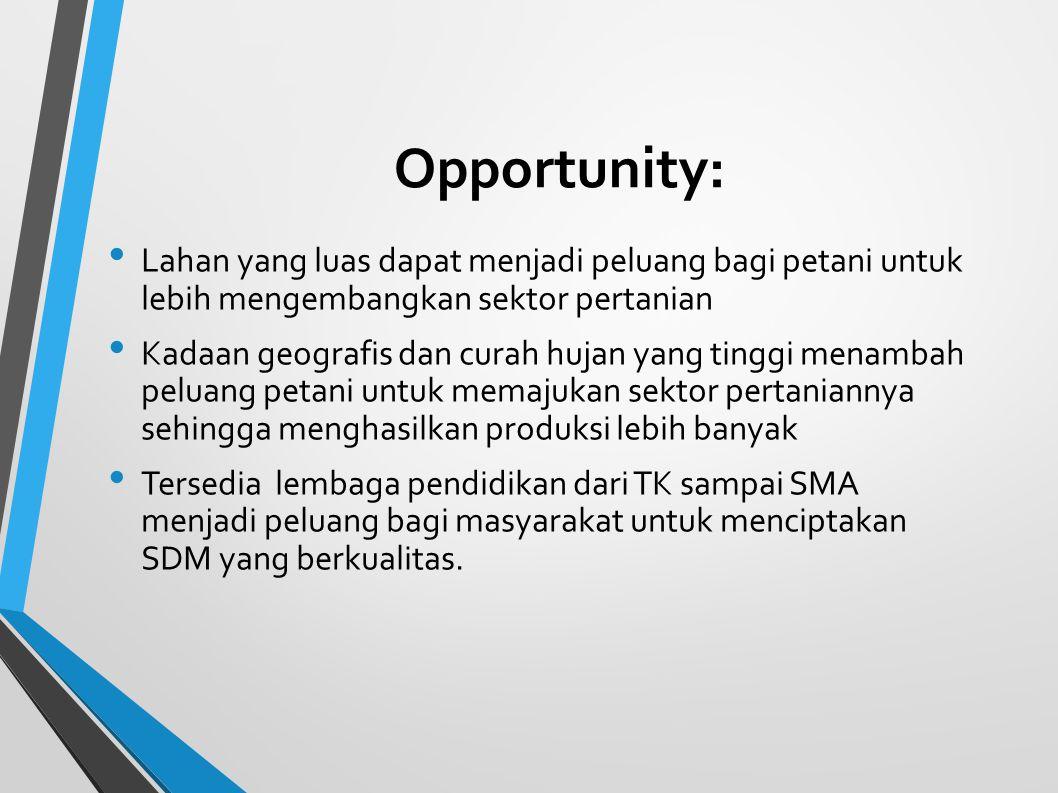 Opportunity: Lahan yang luas dapat menjadi peluang bagi petani untuk lebih mengembangkan sektor pertanian.